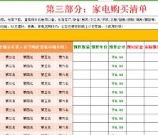新房装修预算表(含超详细的建材家具家电清单)